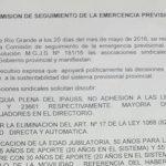Acta firmada en la Mesa tecnica por la ley de Emergencia Previsional entre Gobierno y los gremios estatales que la integran