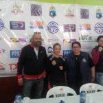 la Boxeadora Rosita Alvarado en la conferencia de Prensa realizada en las instalaciones del Centro Deportivo Municipal.
