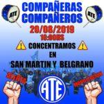 El día martes 20 de Agosto en San Martín y Belgrano a las 10:00, en reclamo a la remarcación indiscriminada de precios en los supermercados y comercios,ante la crisis económica Nacional que nos afecta a la Provincia.